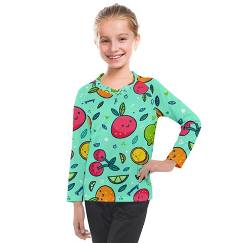 Various Fruits With Faces Seamless Pattern Kids  Long Mesh Tee by Vaneshart