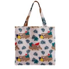 Cute Lazy Sloth Summer Fruit Seamless Pattern Zipper Grocery Tote Bag
