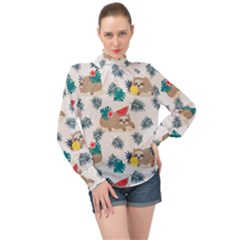 Cute Lazy Sloth Summer Fruit Seamless Pattern High Neck Long Sleeve Chiffon Top by Vaneshart