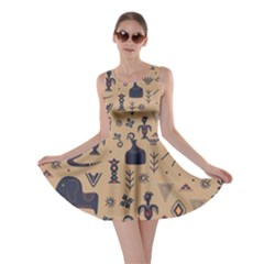 Vintage Tribal Seamless Pattern With Ethnic Motifs Skater Dress