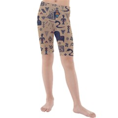Vintage Tribal Seamless Pattern With Ethnic Motifs Kids  Mid Length Swim Shorts
