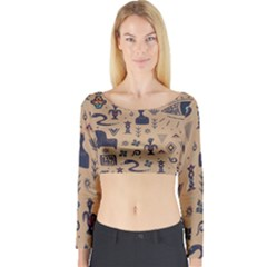 Vintage Tribal Seamless Pattern With Ethnic Motifs Long Sleeve Crop Top