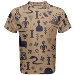 Vintage Tribal Seamless Pattern With Ethnic Motifs Men s Cotton Tee