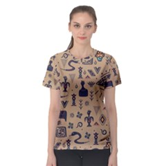 Vintage Tribal Seamless Pattern With Ethnic Motifs Women s Sport Mesh Tee