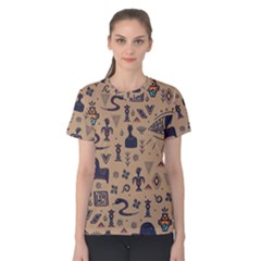 Vintage Tribal Seamless Pattern With Ethnic Motifs Women s Cotton Tee