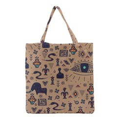Vintage Tribal Seamless Pattern With Ethnic Motifs Grocery Tote Bag