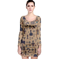Vintage Tribal Seamless Pattern With Ethnic Motifs Long Sleeve Bodycon Dress