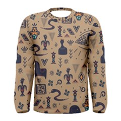 Vintage Tribal Seamless Pattern With Ethnic Motifs Men s Long Sleeve Tee