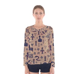Vintage Tribal Seamless Pattern With Ethnic Motifs Women s Long Sleeve Tee