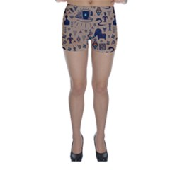 Vintage Tribal Seamless Pattern With Ethnic Motifs Skinny Shorts