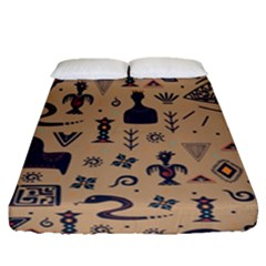 Vintage Tribal Seamless Pattern With Ethnic Motifs Fitted Sheet (Queen Size)