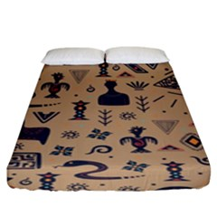 Vintage Tribal Seamless Pattern With Ethnic Motifs Fitted Sheet (King Size)