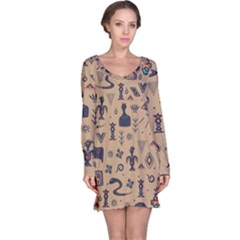 Vintage Tribal Seamless Pattern With Ethnic Motifs Long Sleeve Nightdress
