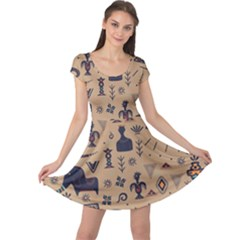 Vintage Tribal Seamless Pattern With Ethnic Motifs Cap Sleeve Dress
