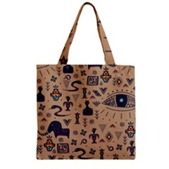 Vintage Tribal Seamless Pattern With Ethnic Motifs Zipper Grocery Tote Bag