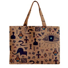 Vintage Tribal Seamless Pattern With Ethnic Motifs Zipper Mini Tote Bag