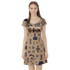 Vintage Tribal Seamless Pattern With Ethnic Motifs Short Sleeve Skater Dress