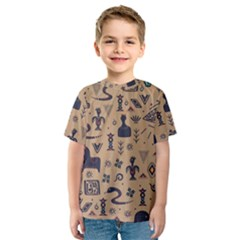 Vintage Tribal Seamless Pattern With Ethnic Motifs Kids  Sport Mesh Tee