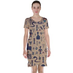 Vintage Tribal Seamless Pattern With Ethnic Motifs Short Sleeve Nightdress