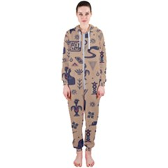 Vintage Tribal Seamless Pattern With Ethnic Motifs Hooded Jumpsuit (Ladies)