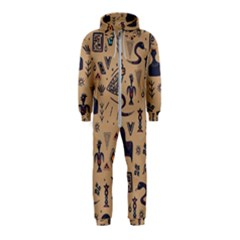 Vintage Tribal Seamless Pattern With Ethnic Motifs Hooded Jumpsuit (Kids)