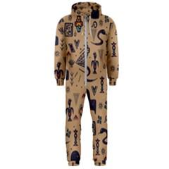 Vintage Tribal Seamless Pattern With Ethnic Motifs Hooded Jumpsuit (Men)