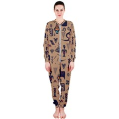Vintage Tribal Seamless Pattern With Ethnic Motifs OnePiece Jumpsuit (Ladies)