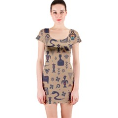 Vintage Tribal Seamless Pattern With Ethnic Motifs Short Sleeve Bodycon Dress