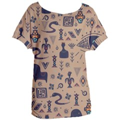 Vintage Tribal Seamless Pattern With Ethnic Motifs Women s Oversized Tee