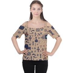 Vintage Tribal Seamless Pattern With Ethnic Motifs Cutout Shoulder Tee