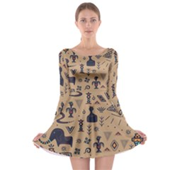 Vintage Tribal Seamless Pattern With Ethnic Motifs Long Sleeve Skater Dress