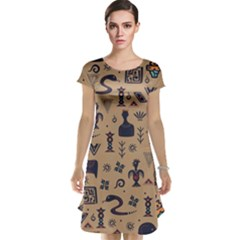 Vintage Tribal Seamless Pattern With Ethnic Motifs Cap Sleeve Nightdress
