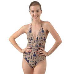 Vintage Tribal Seamless Pattern With Ethnic Motifs Halter Cut-Out One Piece Swimsuit