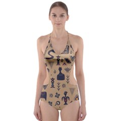 Vintage Tribal Seamless Pattern With Ethnic Motifs Cut-Out One Piece Swimsuit