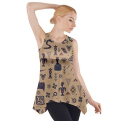 Vintage Tribal Seamless Pattern With Ethnic Motifs Side Drop Tank Tunic
