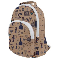 Vintage Tribal Seamless Pattern With Ethnic Motifs Rounded Multi Pocket Backpack