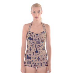 Vintage Tribal Seamless Pattern With Ethnic Motifs Boyleg Halter Swimsuit
