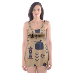 Vintage Tribal Seamless Pattern With Ethnic Motifs Skater Dress Swimsuit