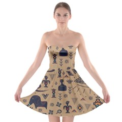 Vintage Tribal Seamless Pattern With Ethnic Motifs Strapless Bra Top Dress