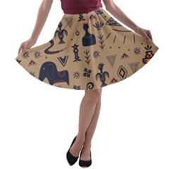Vintage Tribal Seamless Pattern With Ethnic Motifs A-line Skater Skirt