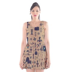 Vintage Tribal Seamless Pattern With Ethnic Motifs Scoop Neck Skater Dress