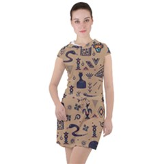 Vintage Tribal Seamless Pattern With Ethnic Motifs Drawstring Hooded Dress