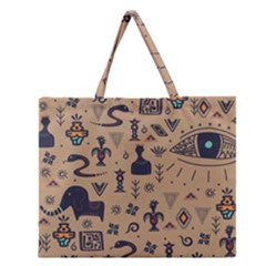 Vintage Tribal Seamless Pattern With Ethnic Motifs Zipper Large Tote Bag