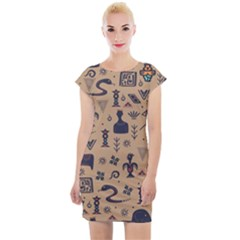 Vintage Tribal Seamless Pattern With Ethnic Motifs Cap Sleeve Bodycon Dress