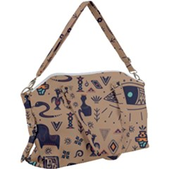 Vintage Tribal Seamless Pattern With Ethnic Motifs Canvas Crossbody Bag
