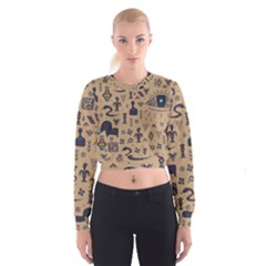 Vintage Tribal Seamless Pattern With Ethnic Motifs Cropped Sweatshirt