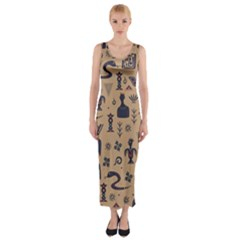 Vintage Tribal Seamless Pattern With Ethnic Motifs Fitted Maxi Dress