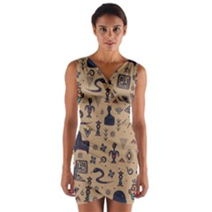 Vintage Tribal Seamless Pattern With Ethnic Motifs Wrap Front Bodycon Dress