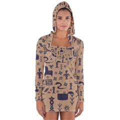 Vintage Tribal Seamless Pattern With Ethnic Motifs Long Sleeve Hooded T-shirt