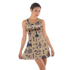 Vintage Tribal Seamless Pattern With Ethnic Motifs Cotton Racerback Dress